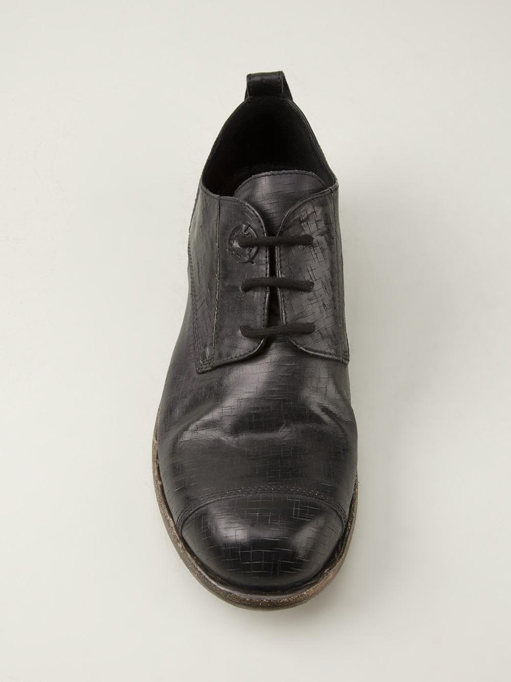 lyst diesel black gold distressed oxford shoes in black