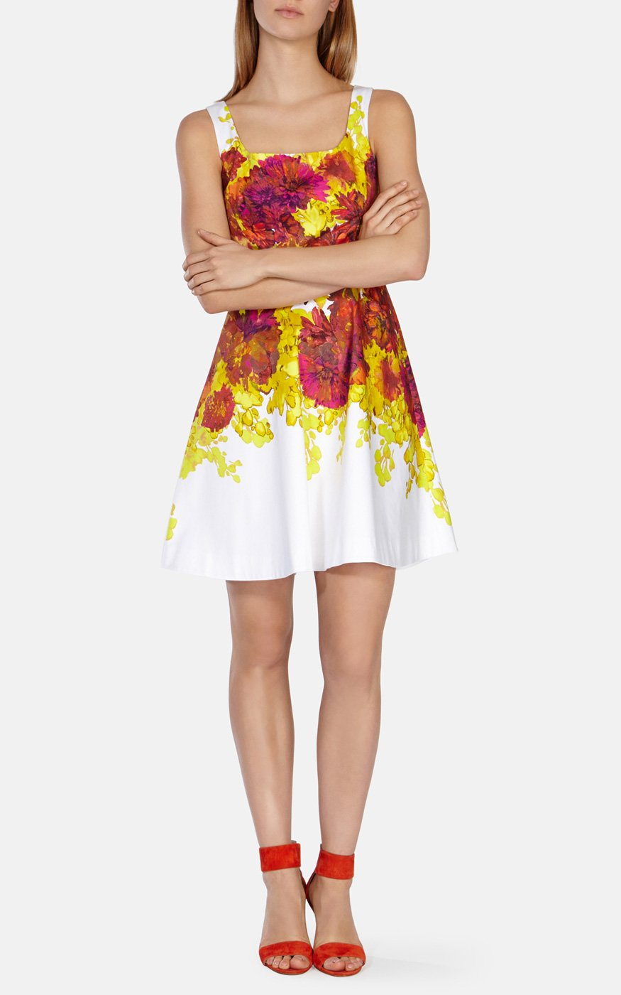 Lyst karen millen colourful painted floral cotton dress gallery ombrellifo Choice Image