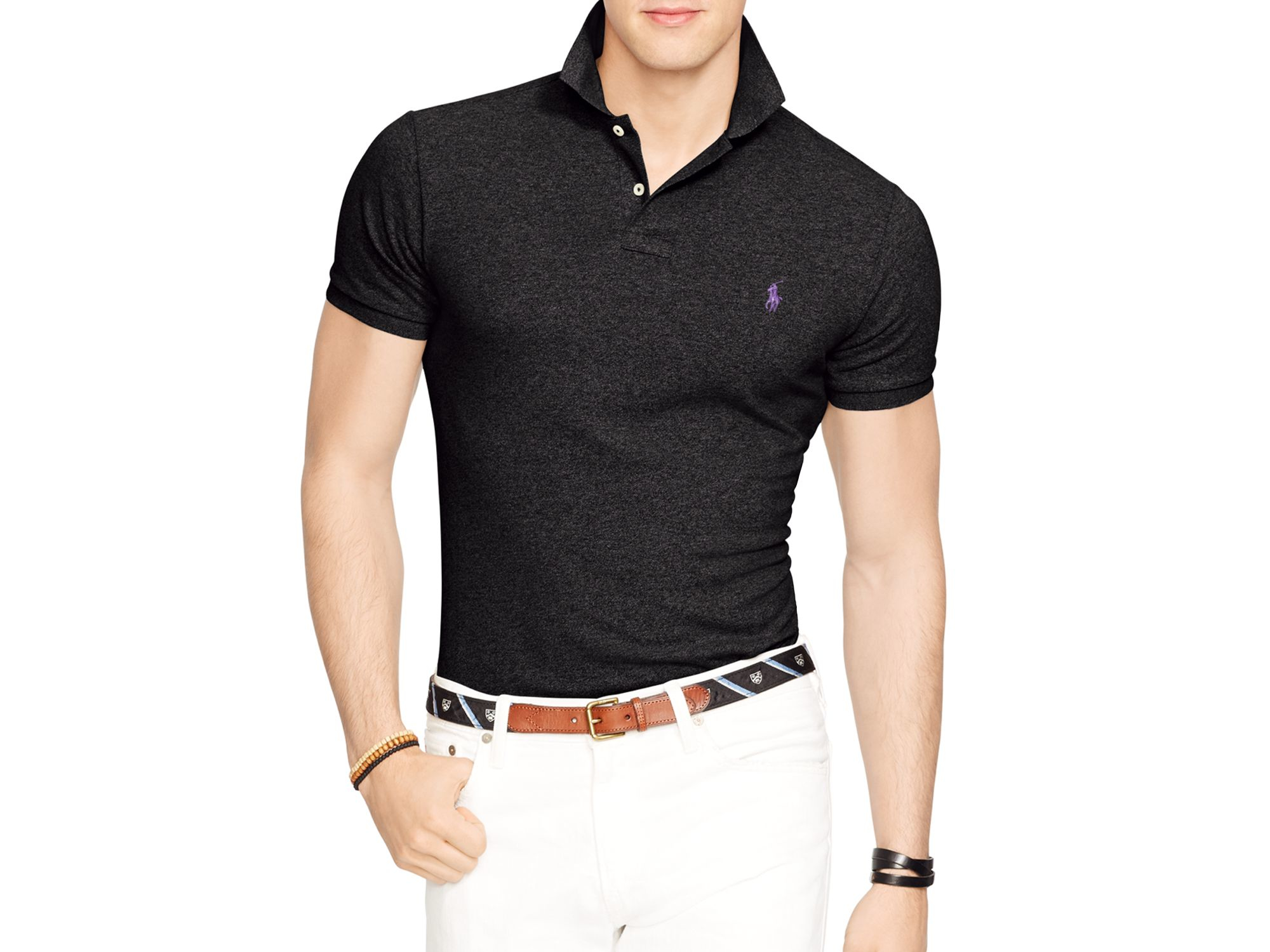 Polo Ralph Lauren BASIC MESH SLIM FIT - Polo - polo black