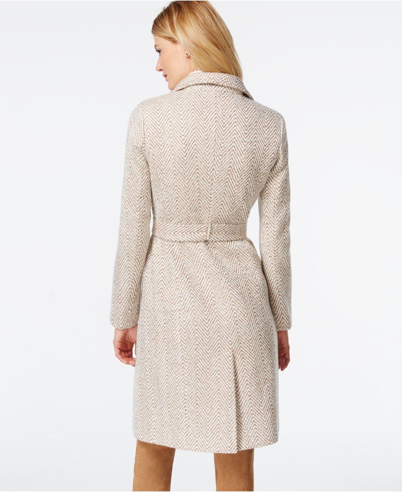Ivanka Trump Herringbone Wrap Trench Coat In Natural Lyst
