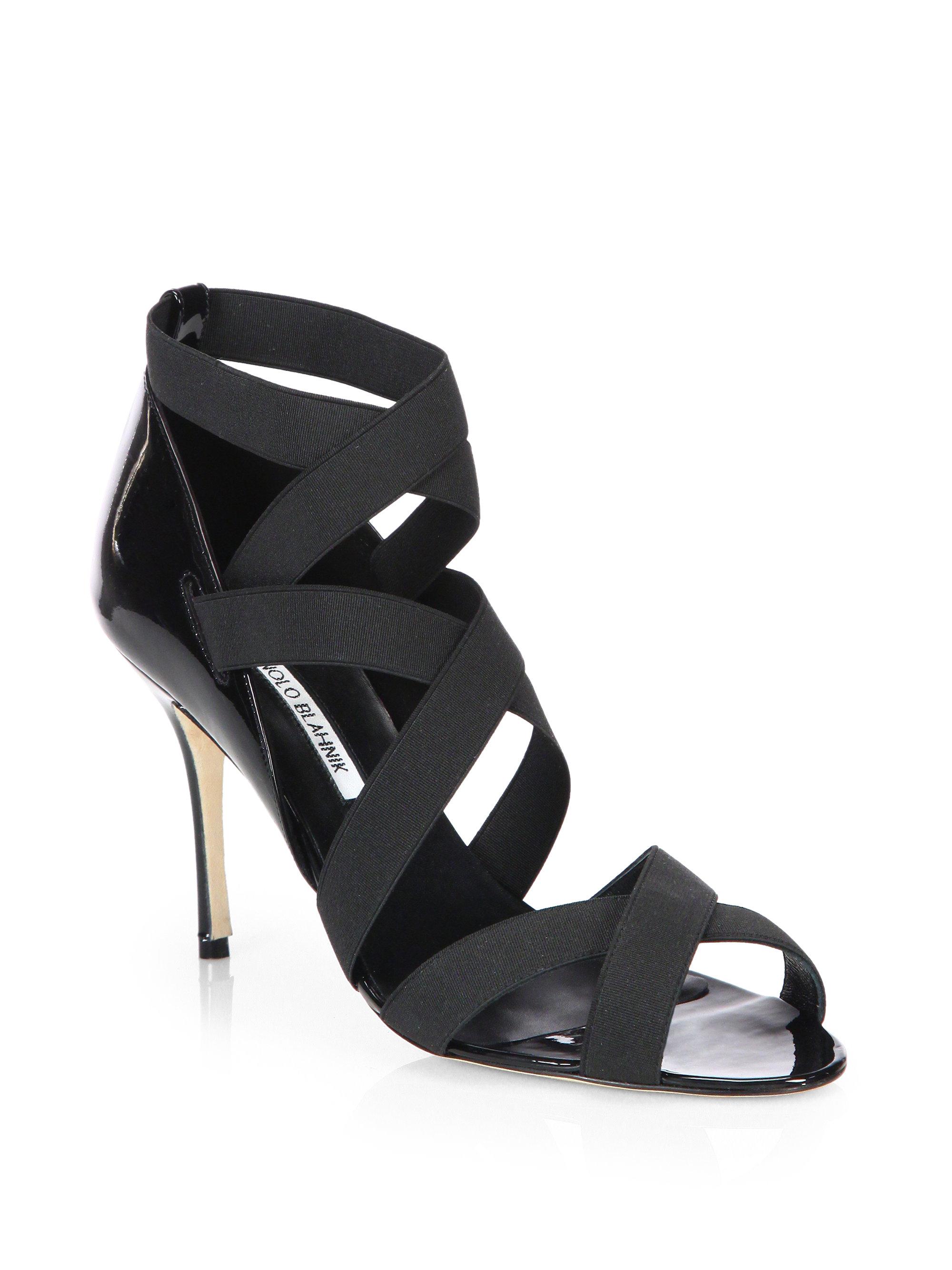Manolo blahnik Platee Elastic Strappy Sandals in Black