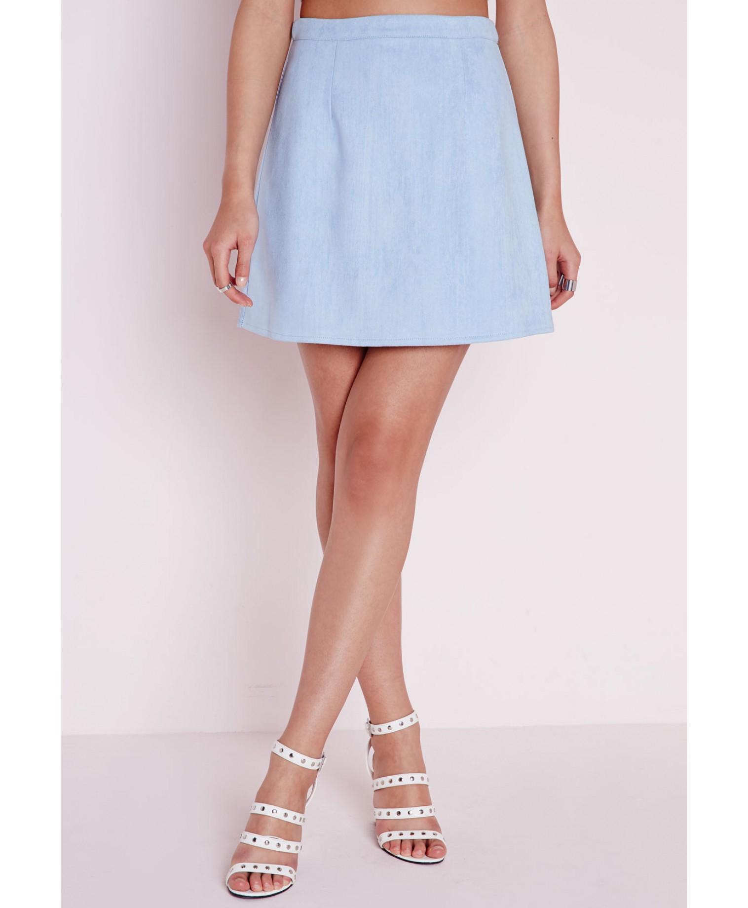 Blue A Line Skirt - Skirts