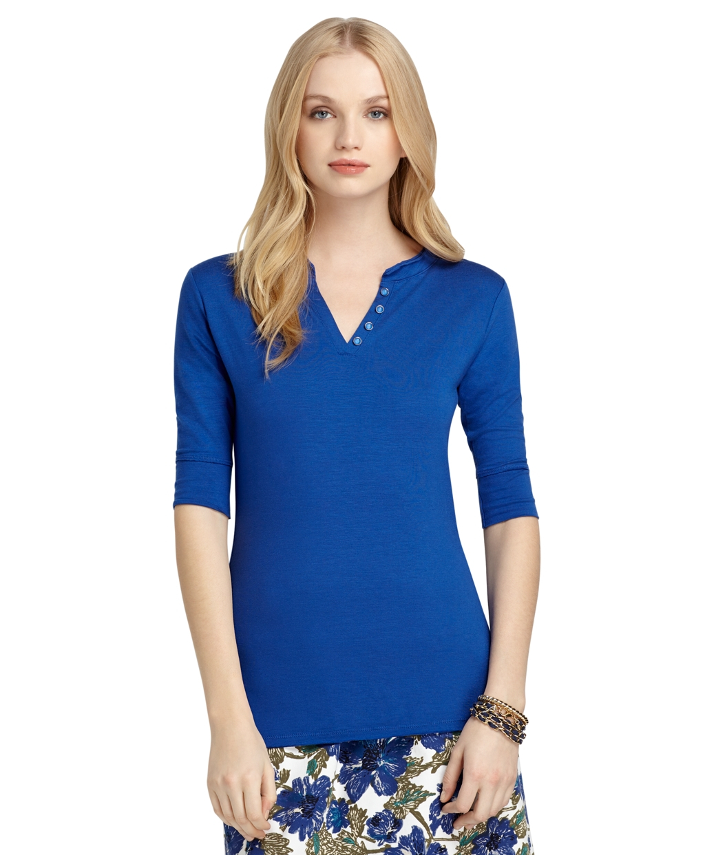 Lyst brooks brothers elbow length tee in blue for Elbow length t shirts women s