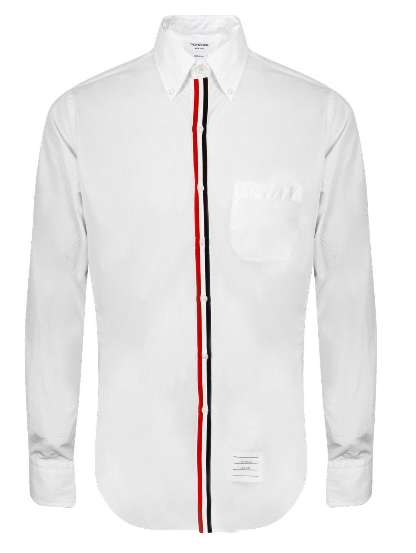 Thom browne signature stripe motif white oxford shirt in for Thom browne white shirt