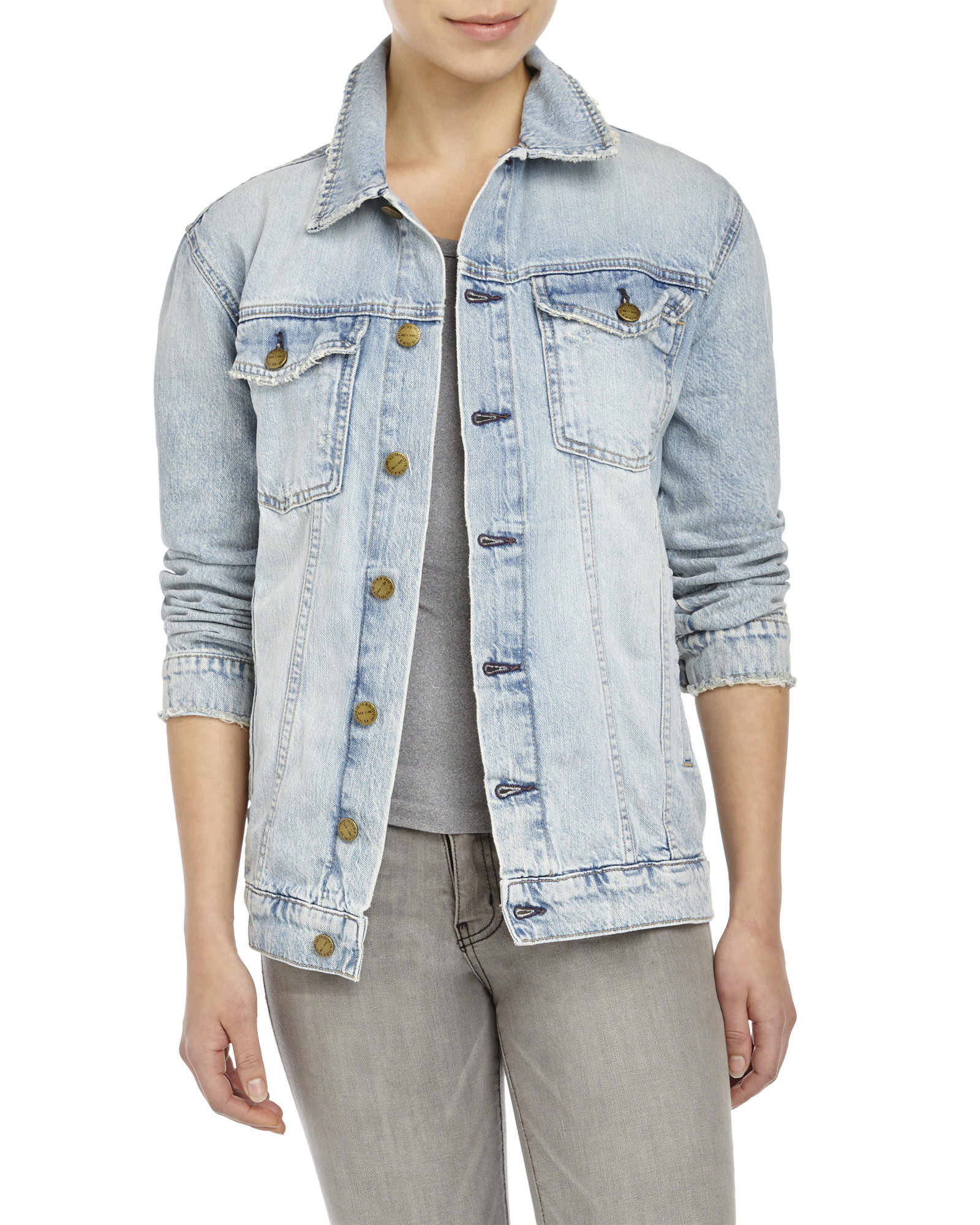b991f7121 Lyst - Current Elliott The Oversized Trucker Denim Jacket in Blue