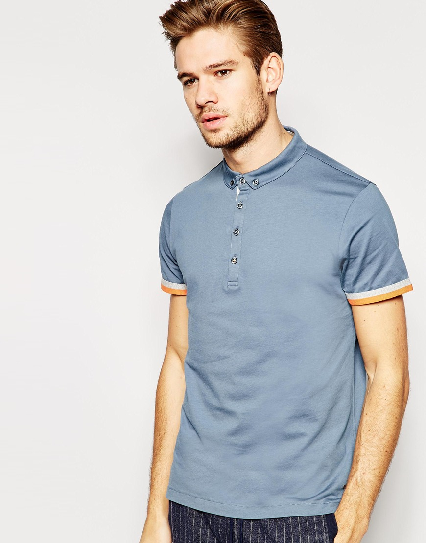 Lyst boss orange polo shirt with small button down for Button down collar golf shirt