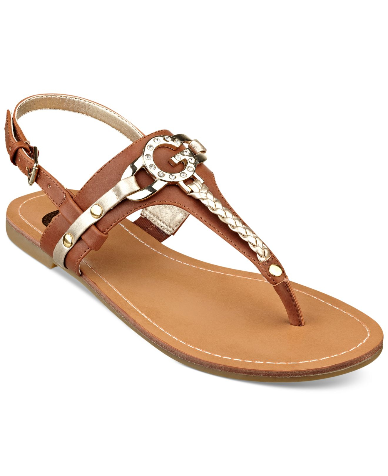 bffe88dba4c Lyst - G by Guess Women S Leed Flat Thong Sandals in Brown