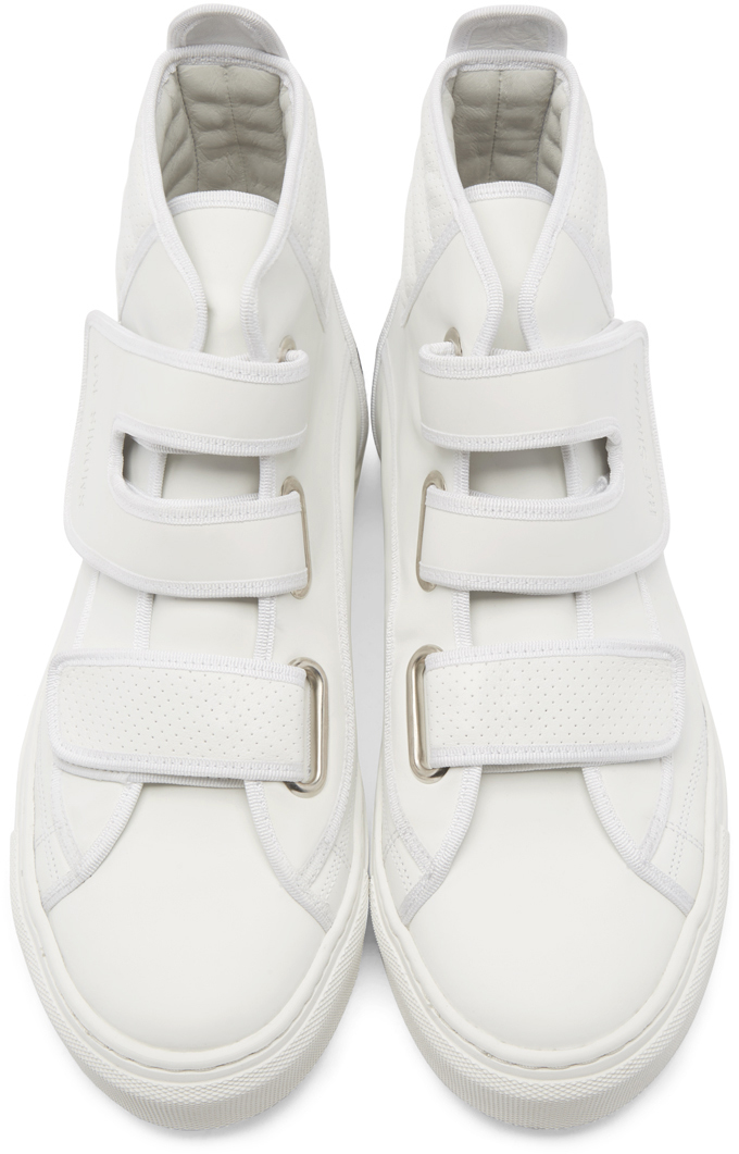 4e909085d255 Lyst - Raf Simons Panelled Leather High-top Sneakers in White for Men
