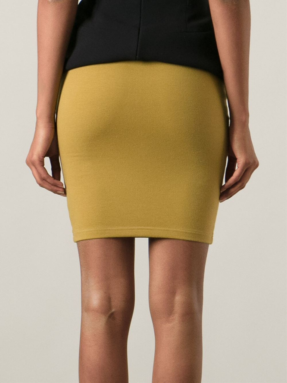jean paul gaultier high waist bodycon skirt in yellow