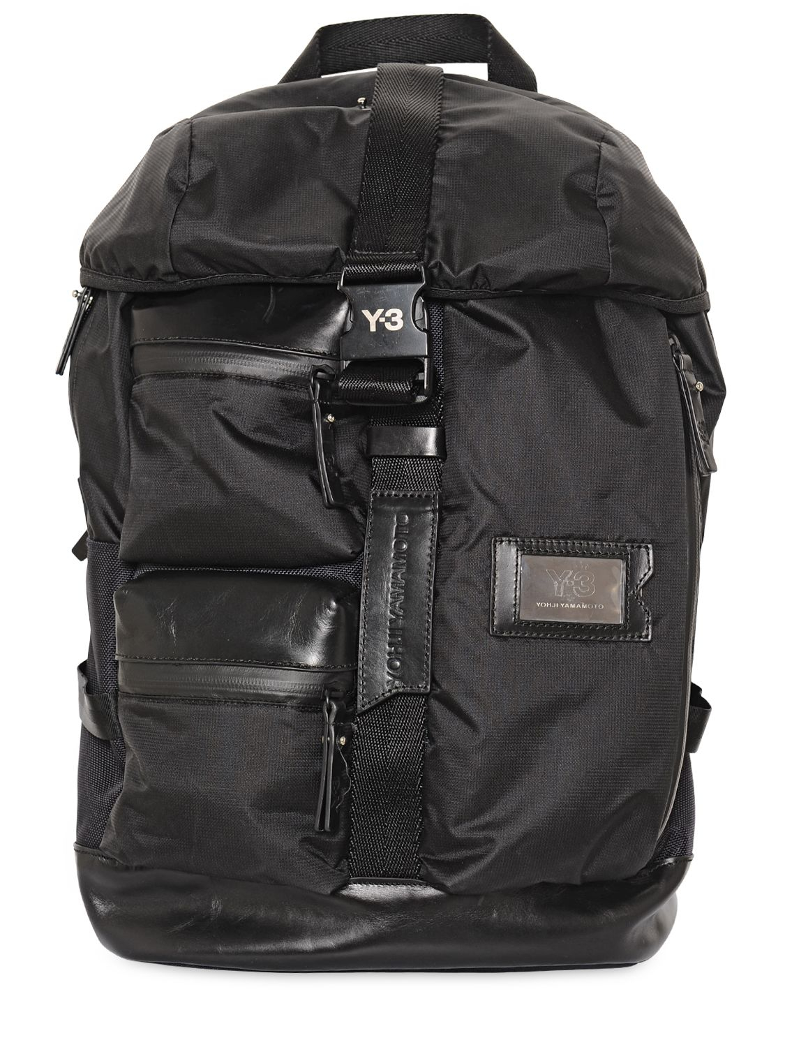 Y-3 Mobility Leather   Nylon Backpack in Black for Men - Lyst c19495f27f358