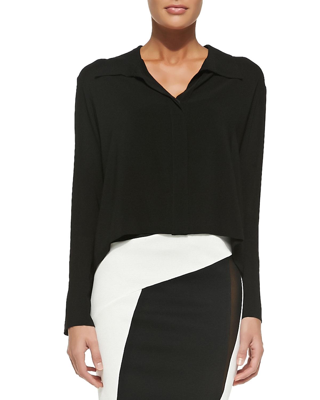 Donna karan long sleeve cropped silk blouse in black lyst for Adam lippes women s long sleeve vee t shirt