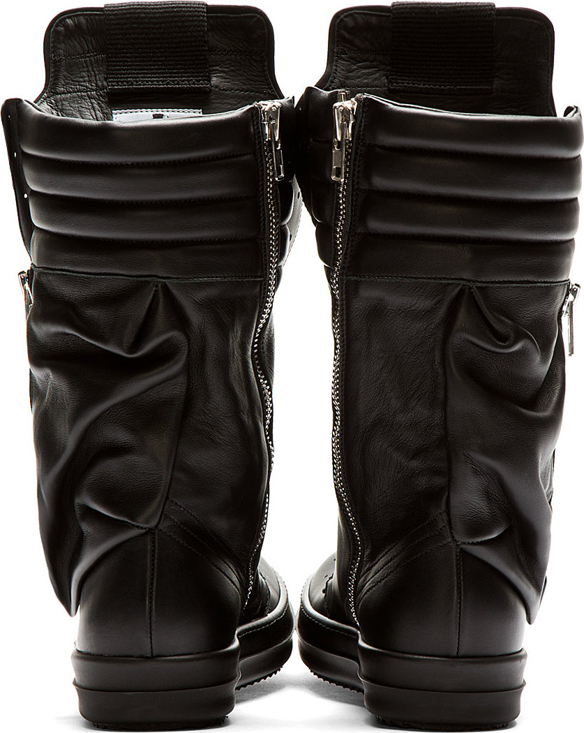 Rick owens Black Leather Cargobasket Sneaker Boots in Black for ...
