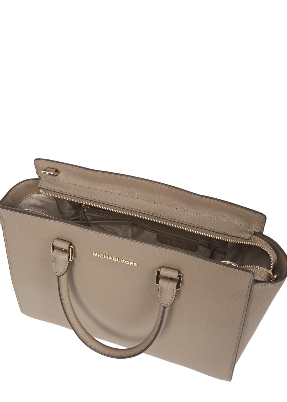 3dfc658120a47 ... low price lyst michael kors selma large taupe saffiano leather tote in  gray b9859 34e1f