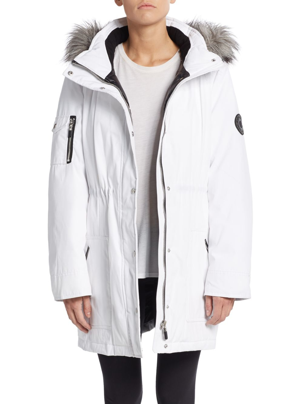 Calvin Klein Faux Fur Trimmed Arctic Parka In White Lyst