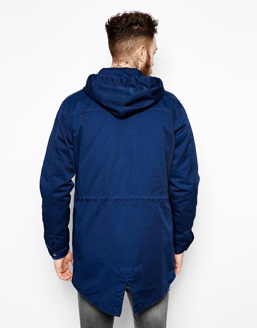 Asos 2 In 1 Fishtail Parka in Blue for Men | Lyst