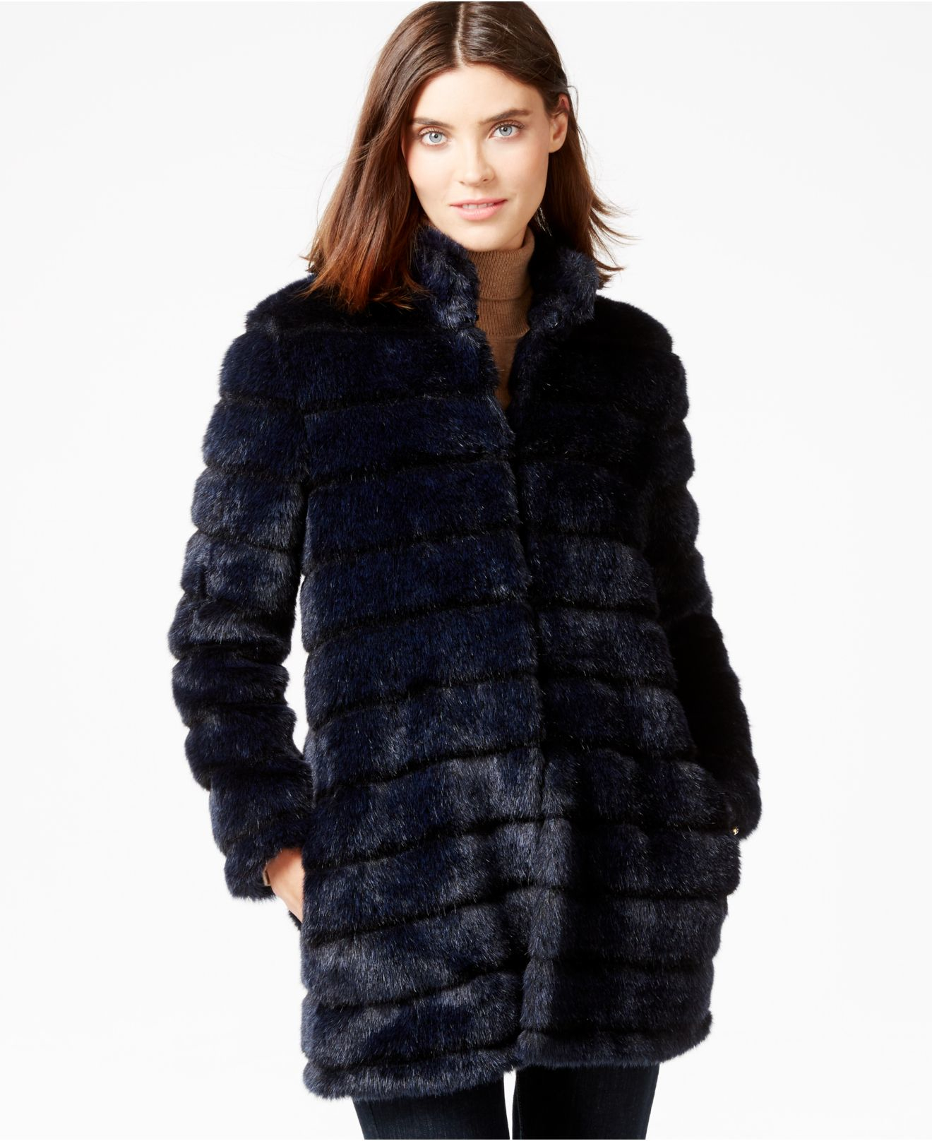 Laundry by shelli segal Ribbed Faux-fur Coat in Blue | Lyst