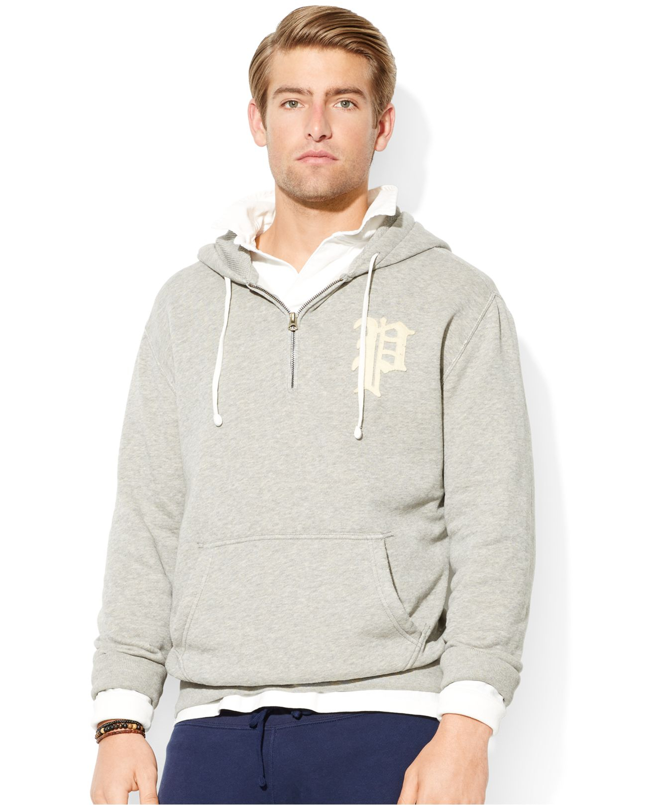 Polo ralph lauren Half-Zip Fleece Hoodie in Gray for Men | Lyst