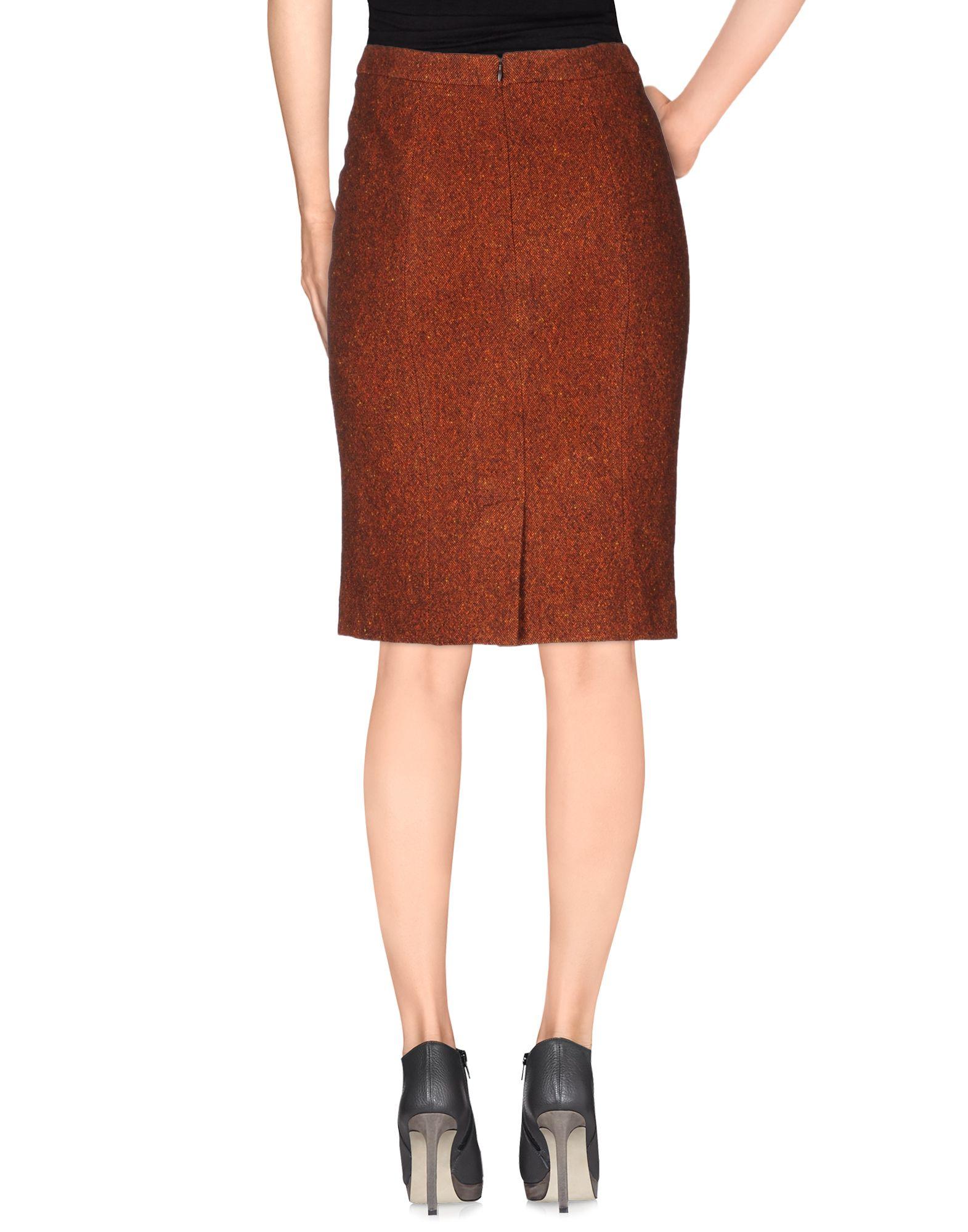 etro knee length skirt in brown rust lyst