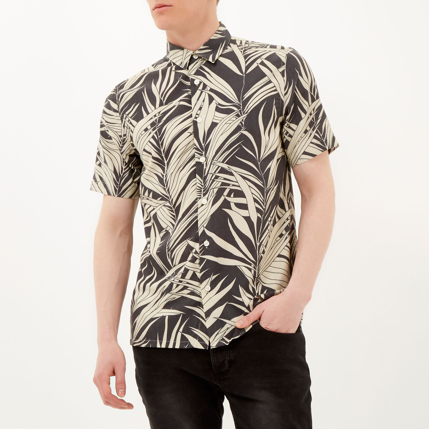 Lyst river island black leaf print short sleeve shirt in for Where to print shirts