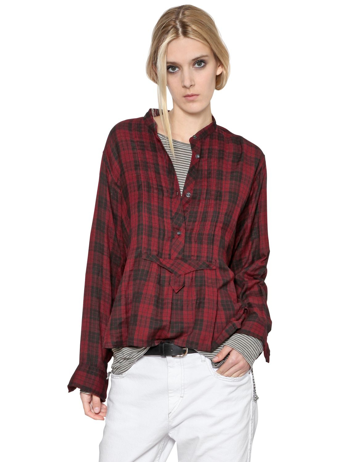 Lyst - Étoile Isabel Marant Plaid Cotton Flannel Shirt in Red