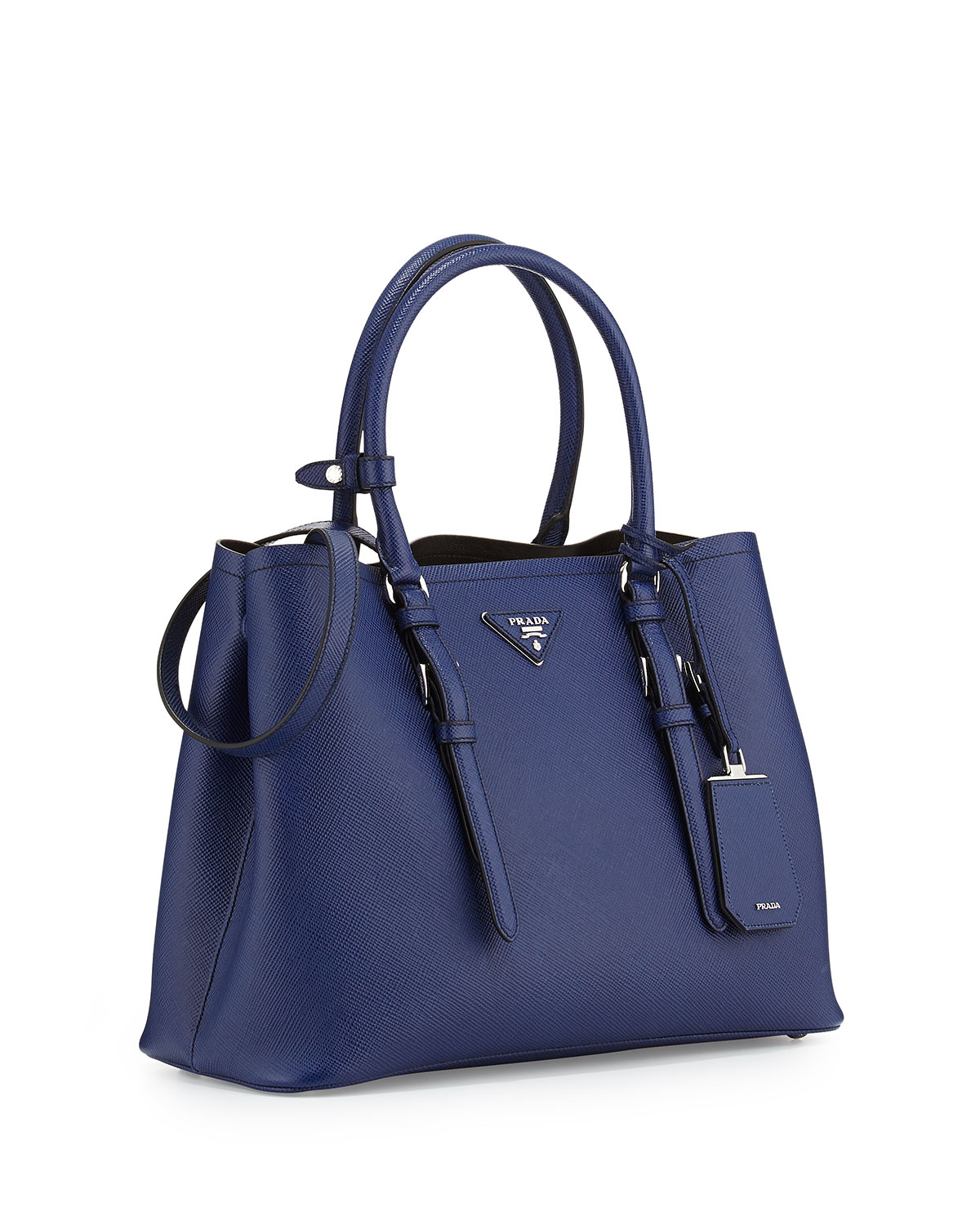 01d2f994e2f4 ... uk lyst prada saffiano cuir covered strap double bag in blue cd15b  d5762 ...