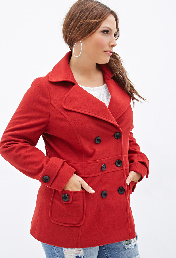Forever 21 Plus Size Classic Pea Coat In Red Lyst