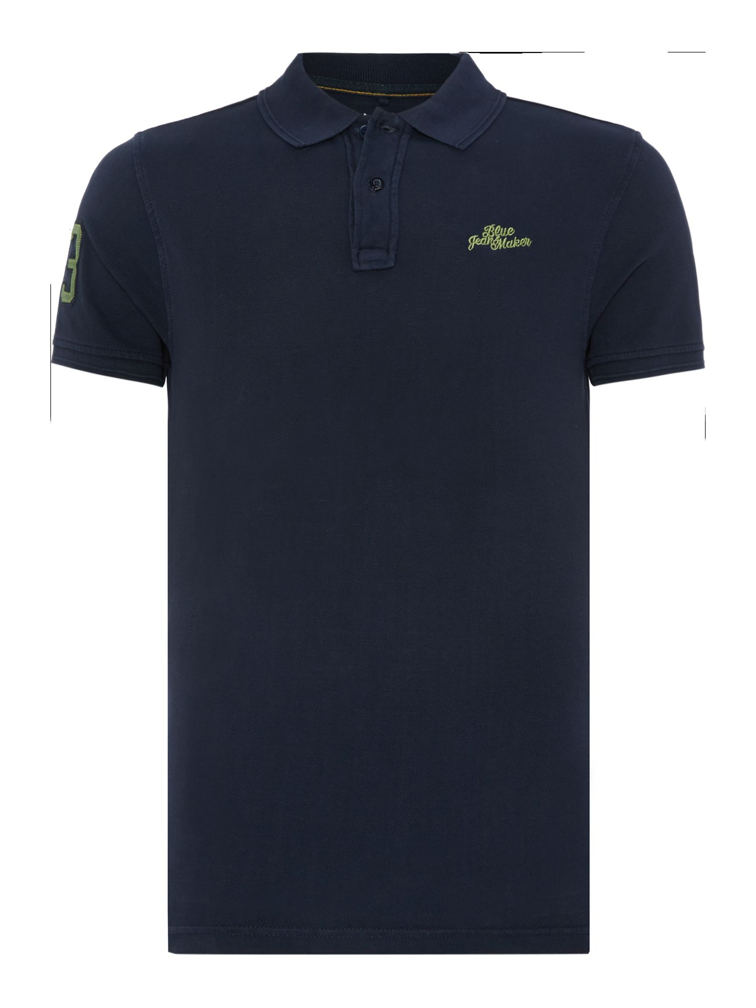 Blend plain grandad collar slim fit polo shirt in blue for for Plain navy polo shirts
