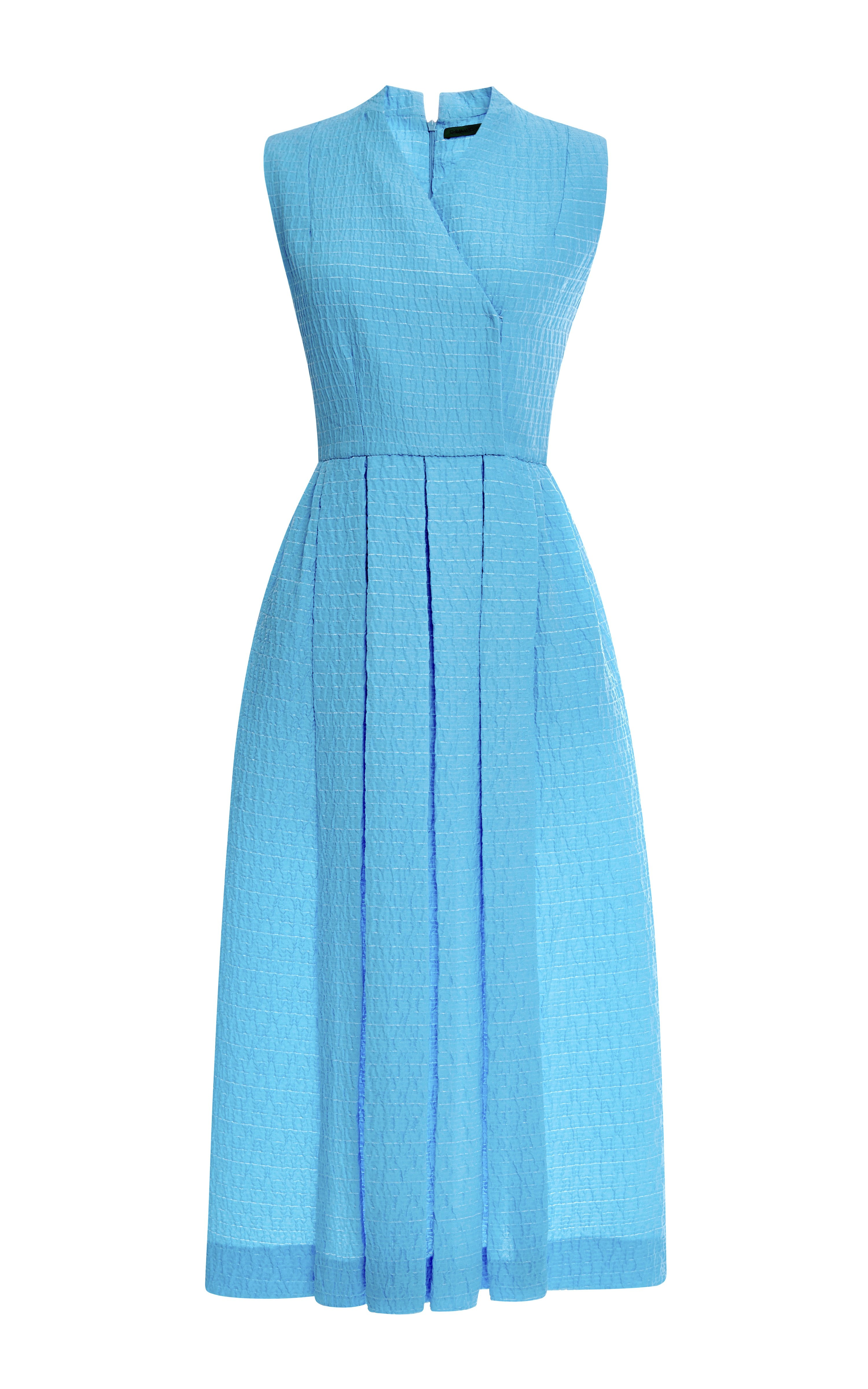 Emilia Wickstead Jully Pleated Cloqu 227 Midi Dress In Blue
