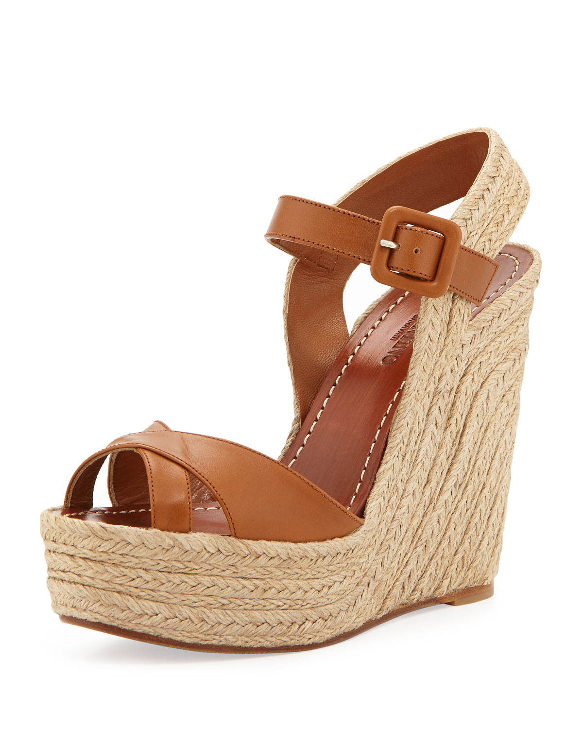 Valentino Crisscross Leather Espadrille Wedge In Brown Lyst