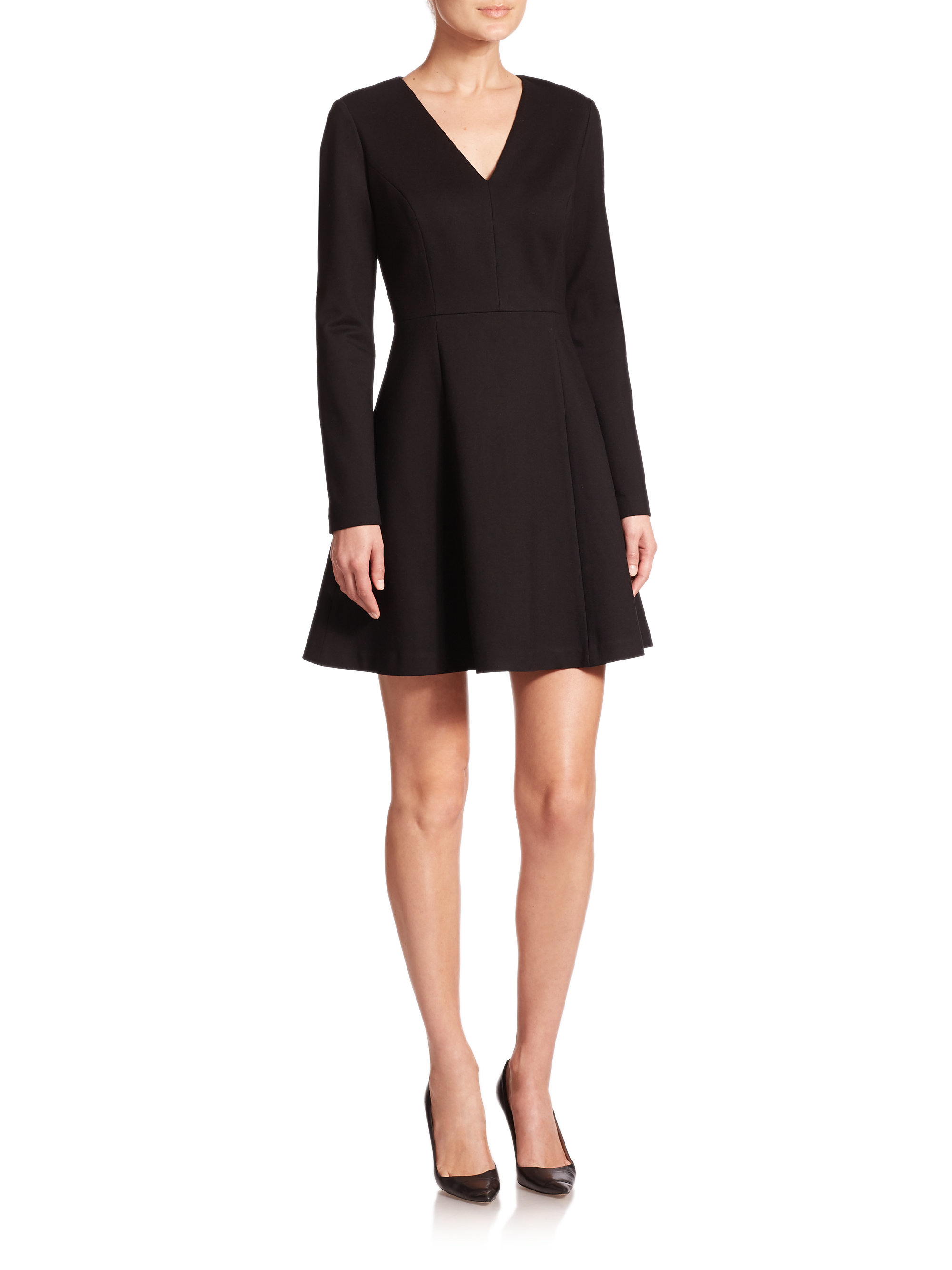 Lyst Saks Fifth Avenue Ponte V Neck Long Sleeve Dress In