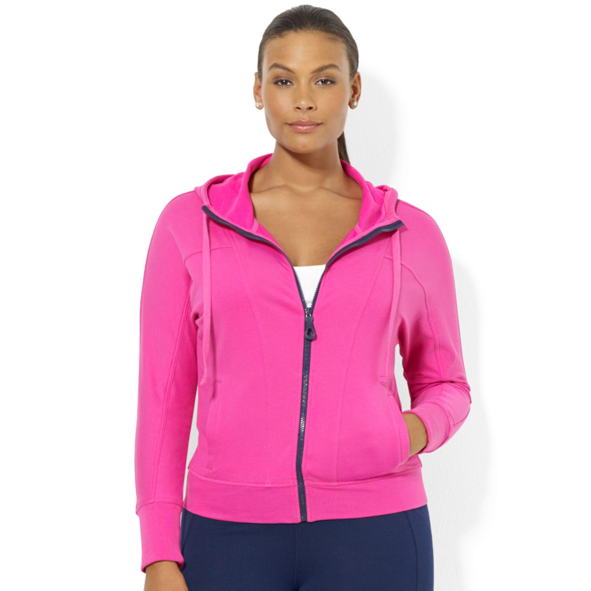 lauren by ralph lauren plus size zipup hoodie in pink | lyst