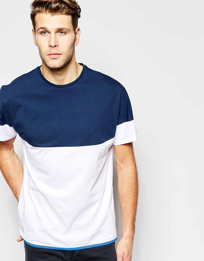 Lyst native youth yoke color block t shirt in blue for men for Mens colored t shirts