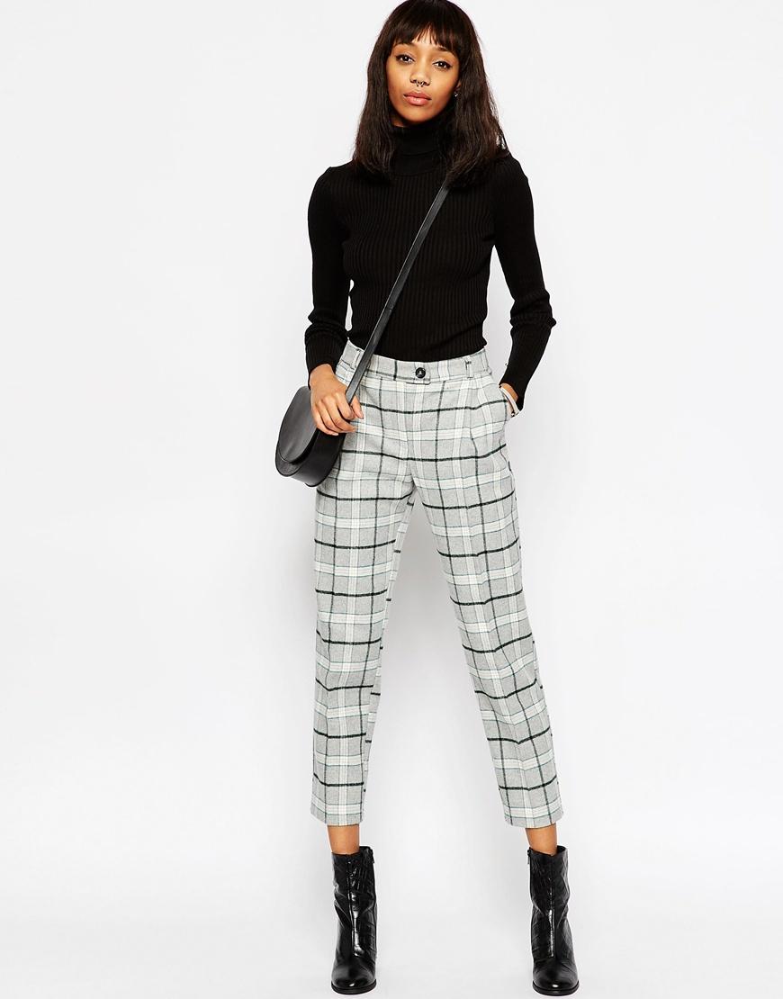 a8ecec9be04c8 ASOS Premium Check Boyfriend Peg Trousers in Gray - Lyst