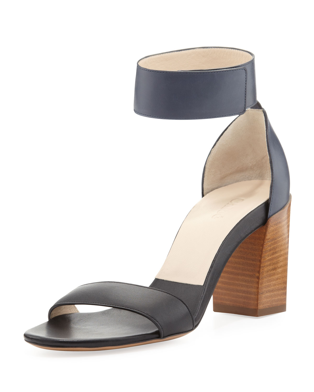 Lyst - Chloé Two-tone Ankle Strap Sandal in Black efd13a18bc5