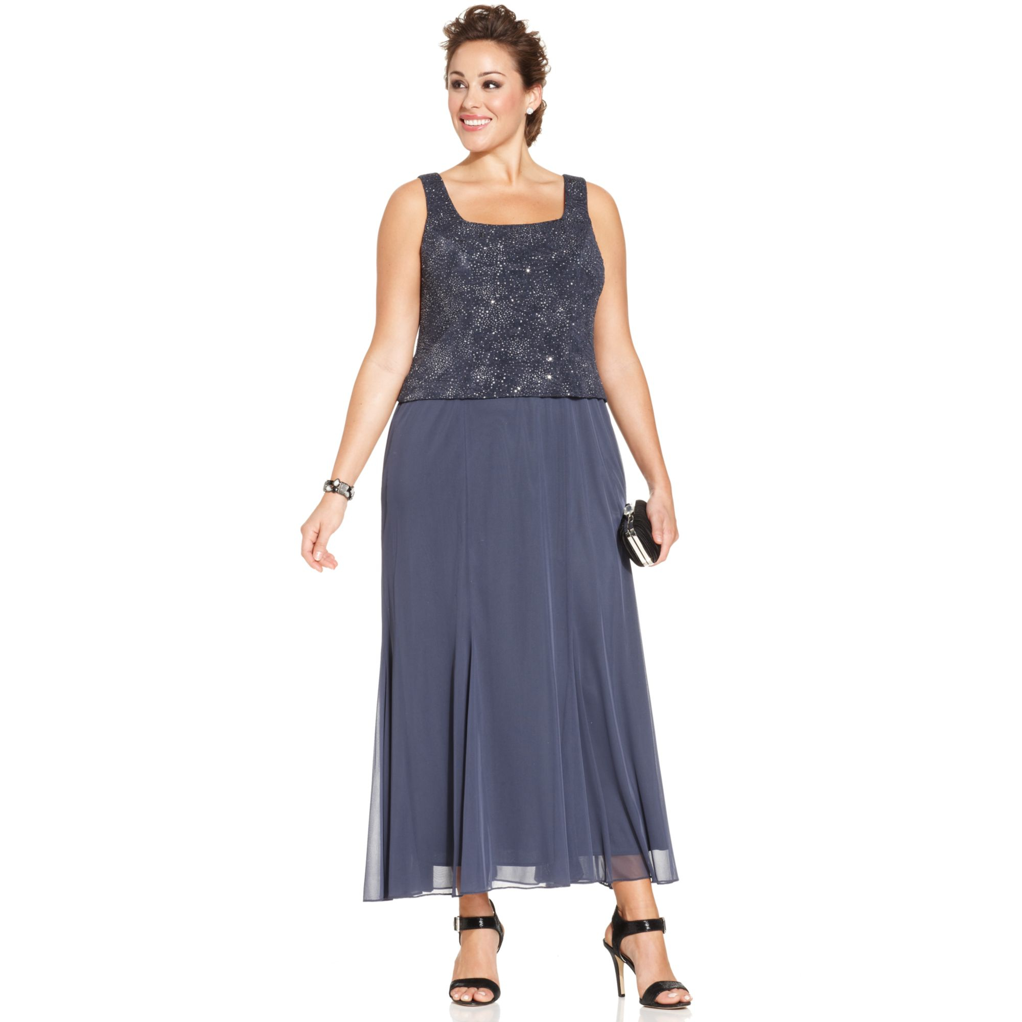 alex evenings plus size sleeveless glitter gown and jacket in blue