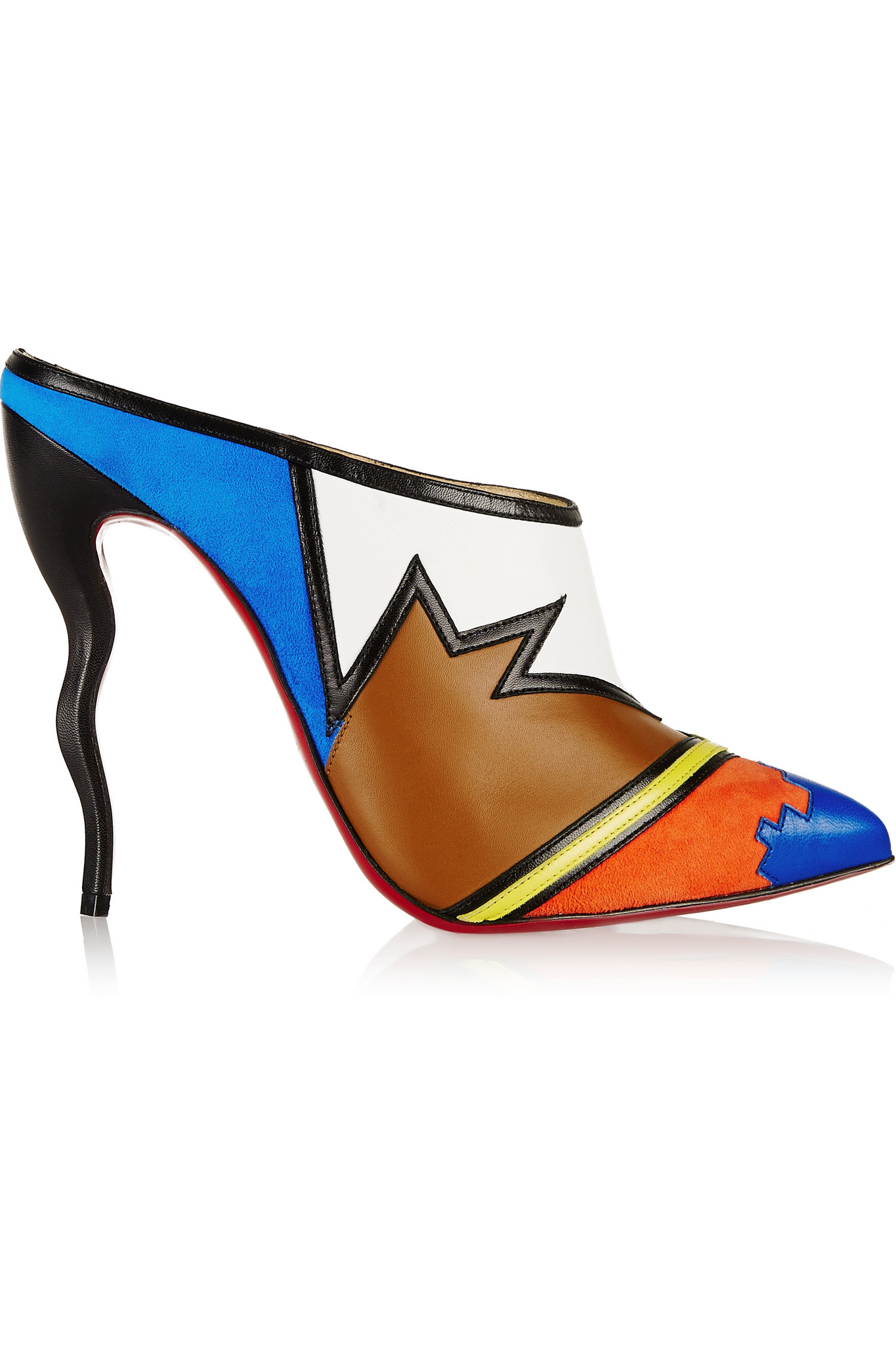 ecc68afd1b52 Lyst - Christian Louboutin Vagachina 120 Leather And Suede Mules in Blue