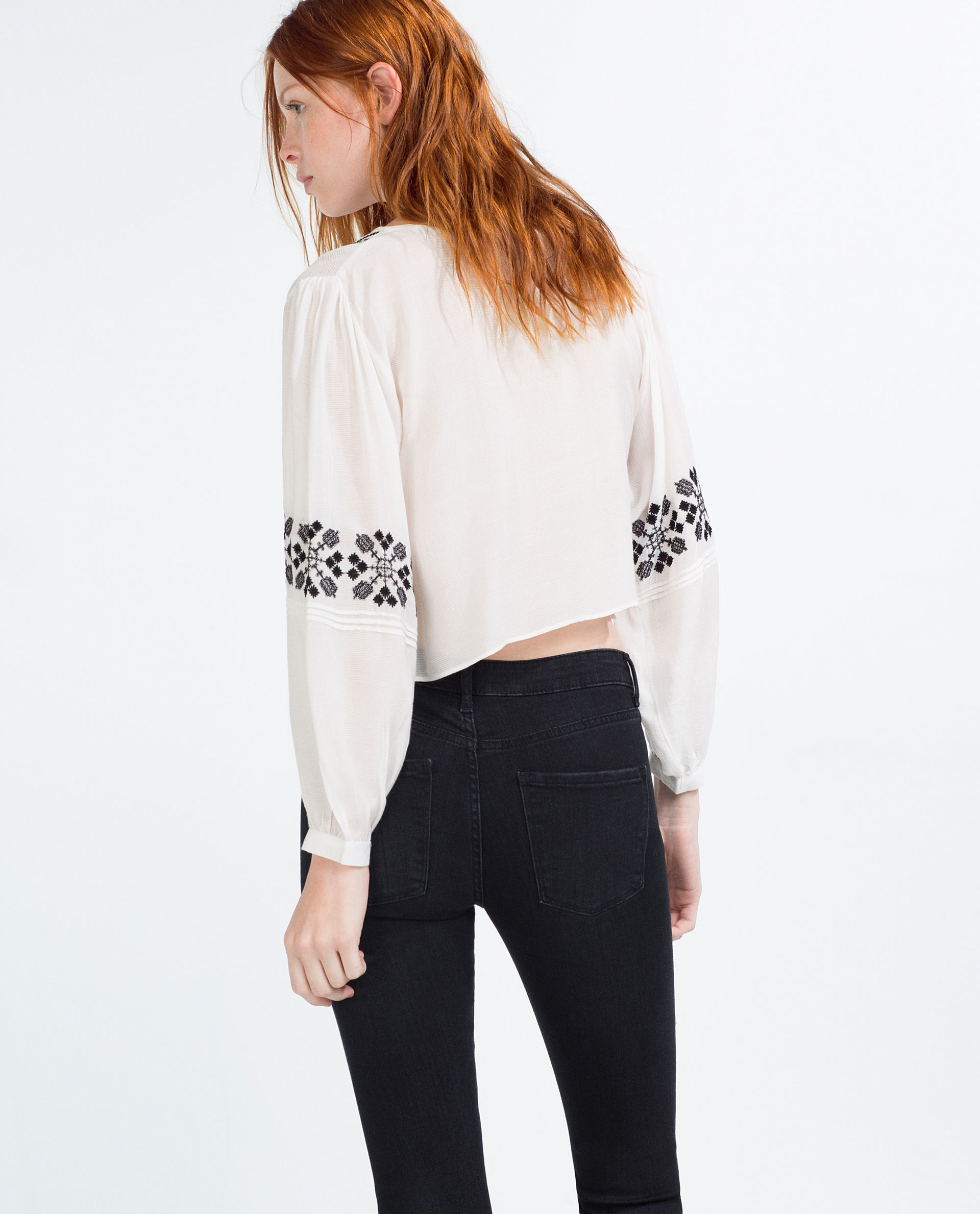 Zara flowing shirt with bib front embroidery in white lyst