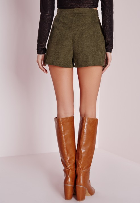 Missguided Pocket Detail High Waisted Shorts Khaki in Green | Lyst