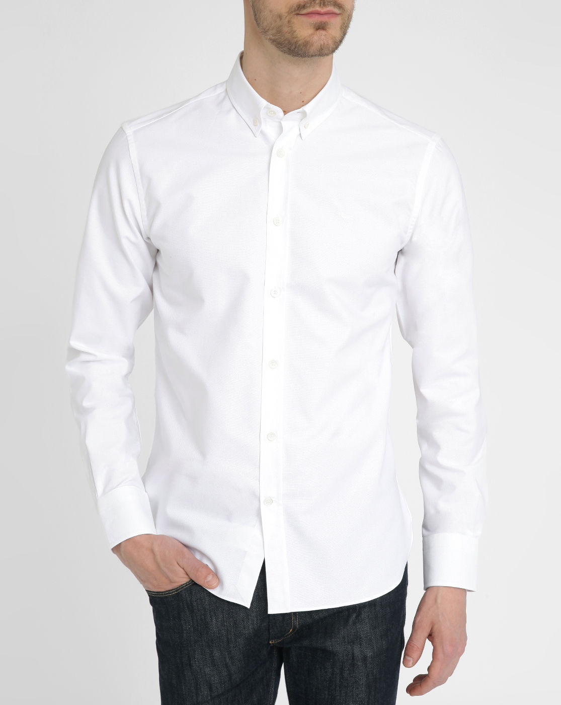 Maison kitsun white oxford embroidered shirt in white for for White oxford shirt mens