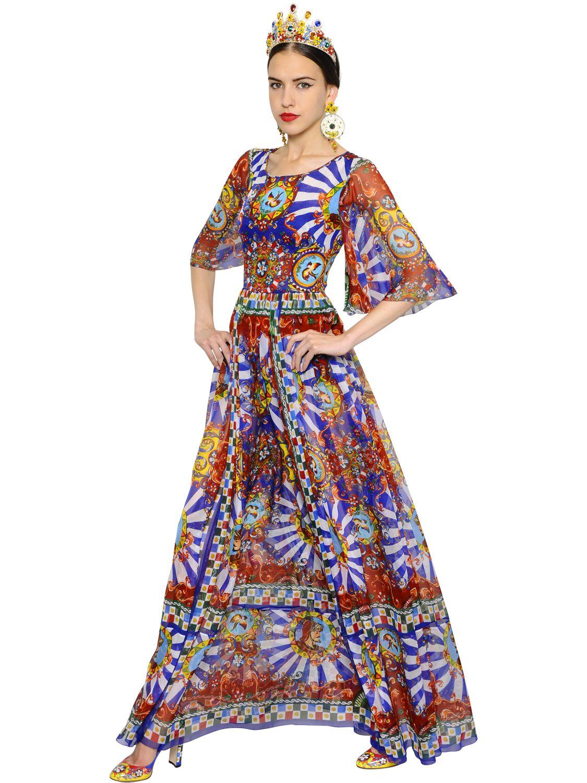 Lyst Dolce Amp Gabbana Carretto Printed Silk Chiffon Dress