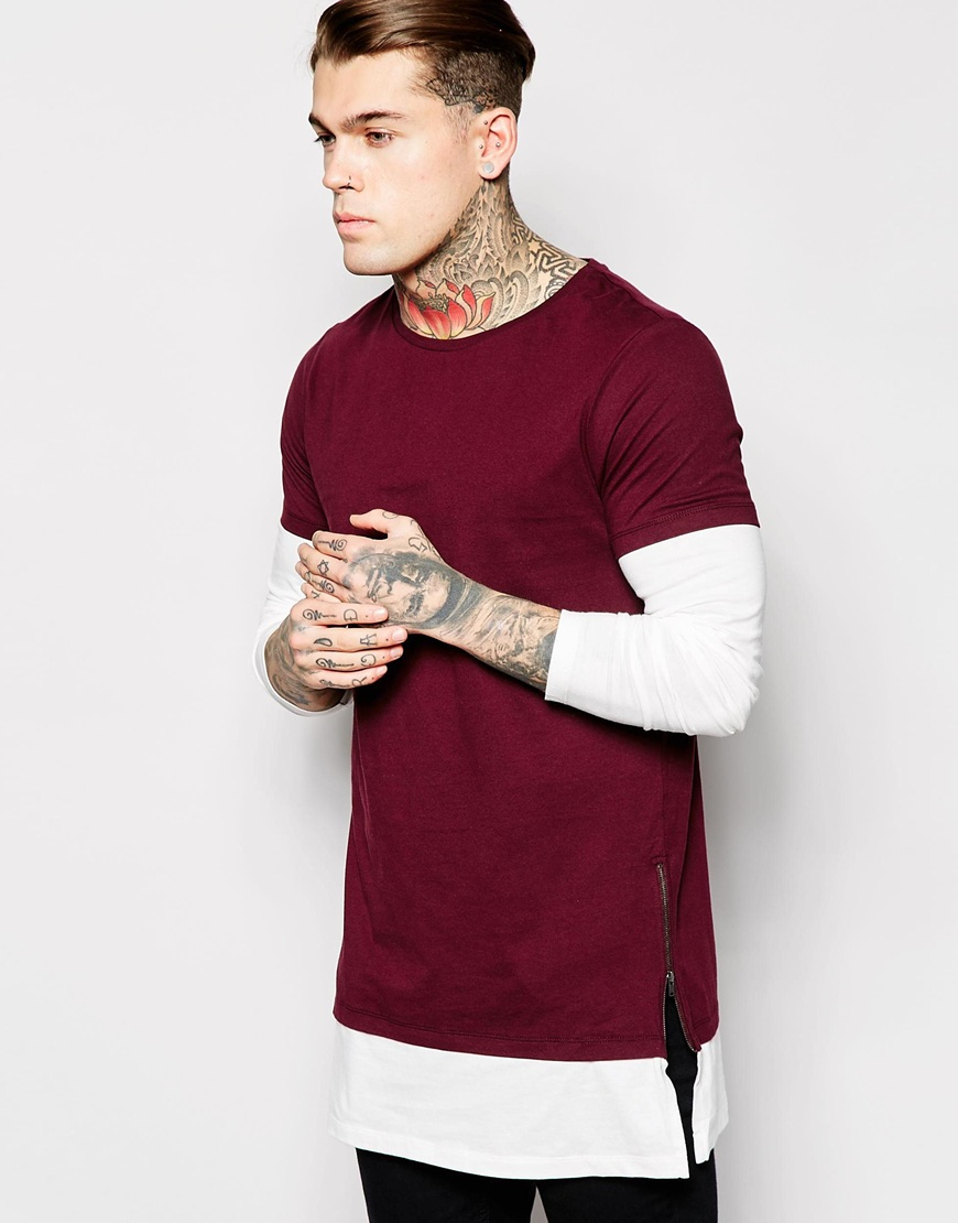 Asos Super Longline Long Sleeve T-shirt With Double Layer And Side ...