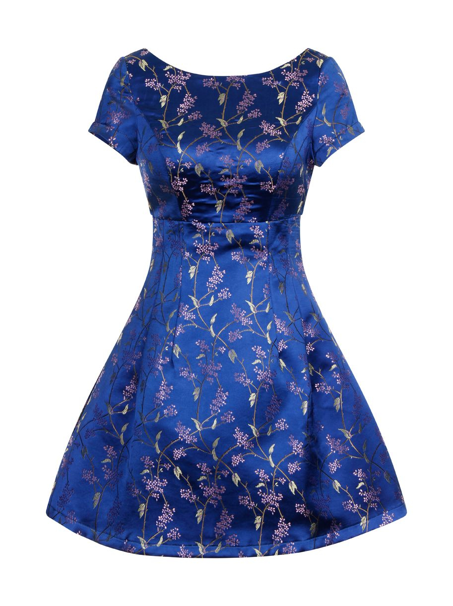 Chi london oriental embroidery dress in blue lyst