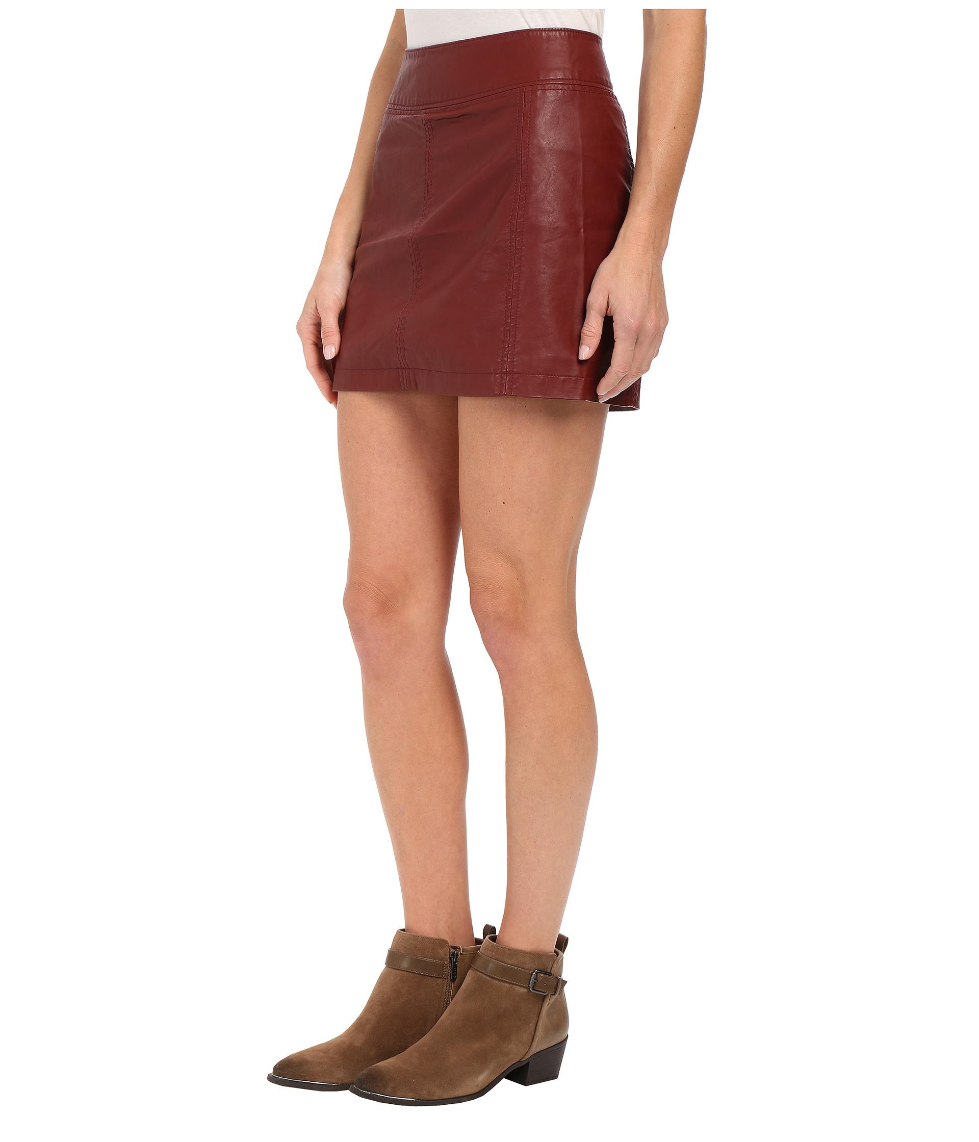 Free people Zip To It Vegan Leather Mini Skirt in Purple | Lyst