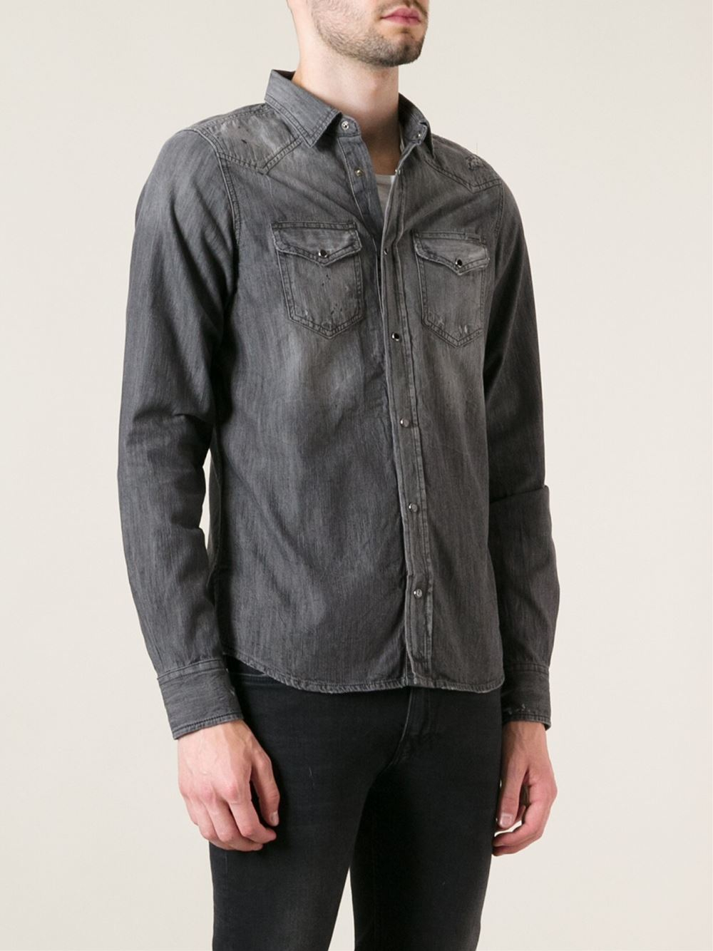 Joe Cotton Ford >> Diesel Denim Shirt in Gray for Men - Lyst
