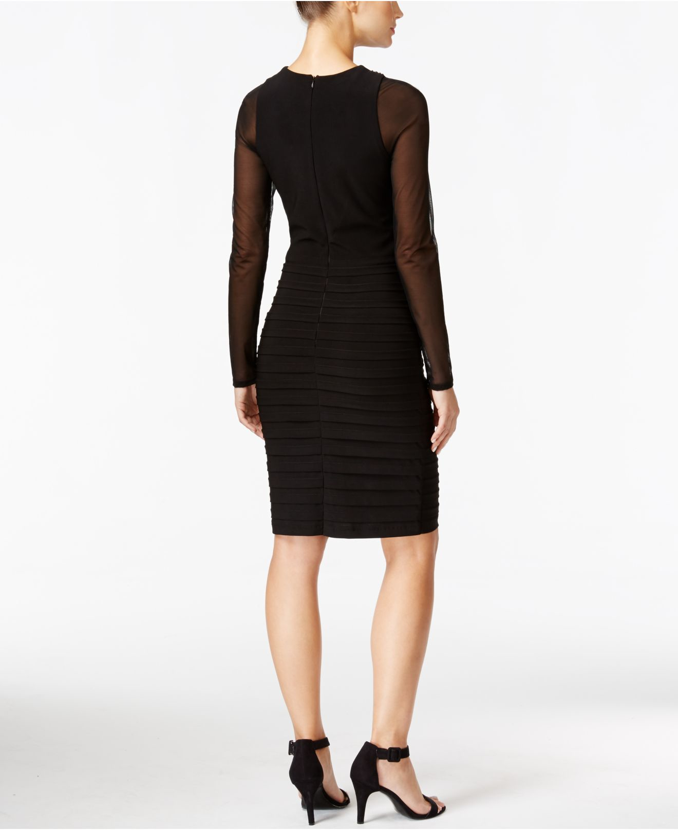 Xscape Petite Long-sleeve Beaded Illusion Sheath Dress in Black | Lyst