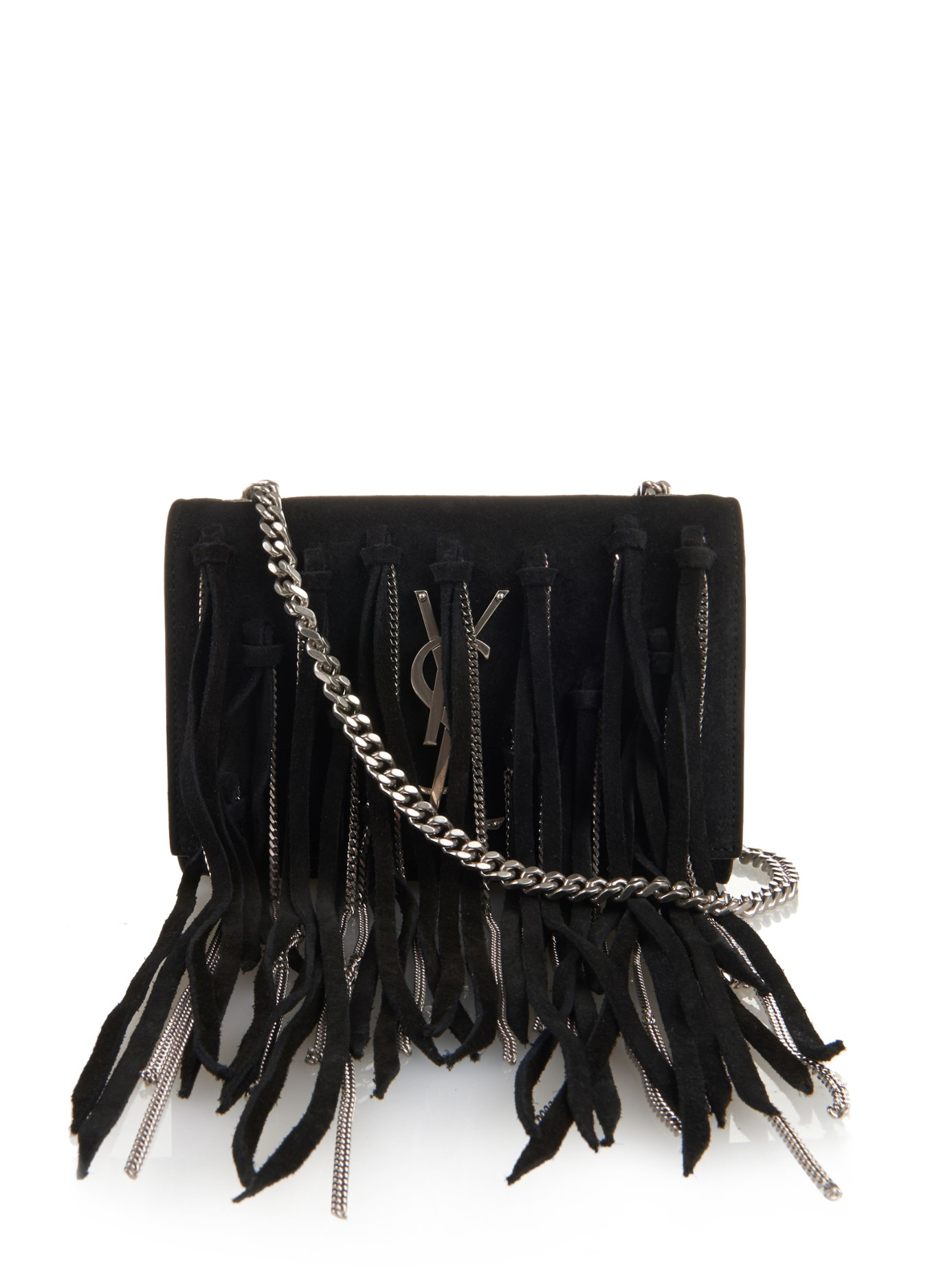 d43df86077 Lyst - Saint Laurent Monogram Small Fringed-suede Cross-body Bag in ...