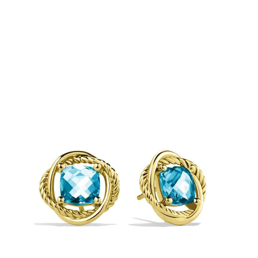 david yurman infinity earrings with blue topaz in gold in