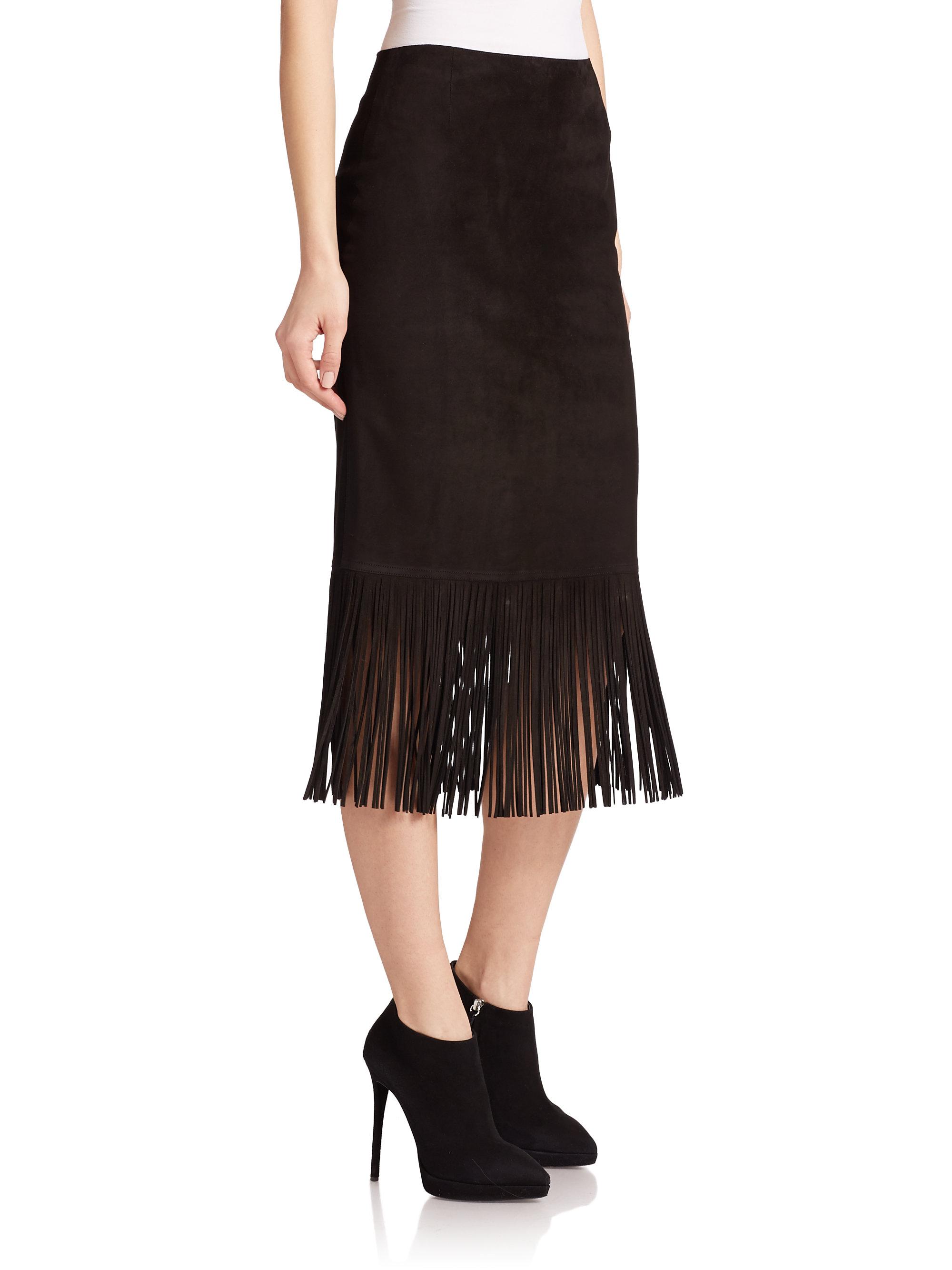 Akris punto Suede Fringe Pencil Skirt in Black | Lyst