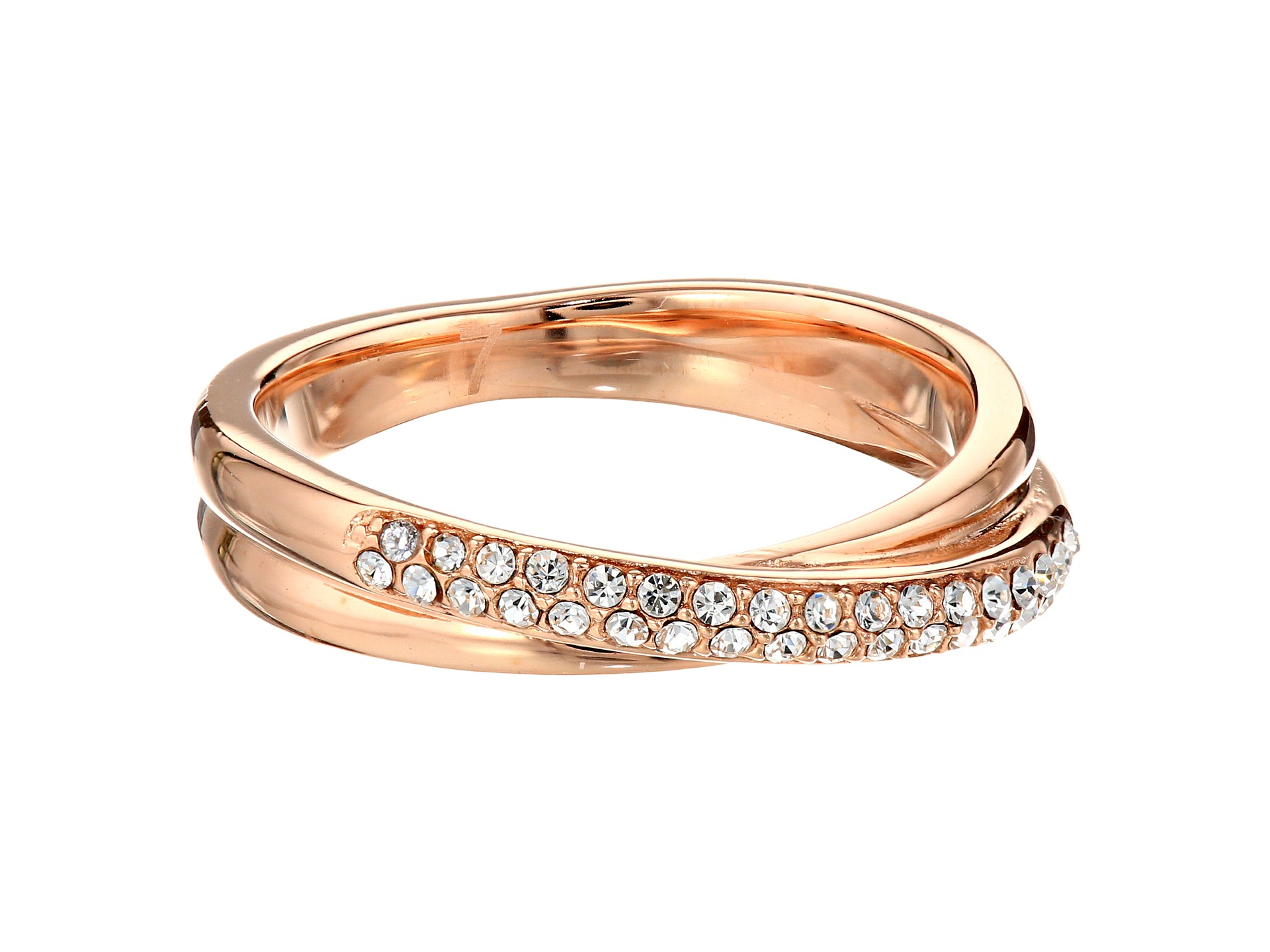 michael kors pave crossover ring in pink rose gold lyst. Black Bedroom Furniture Sets. Home Design Ideas