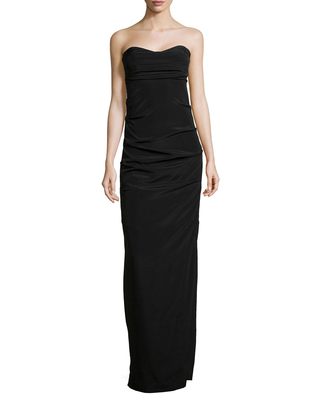 Lyst - Nicole Miller Strapless Stretch-Silk Gown in Black